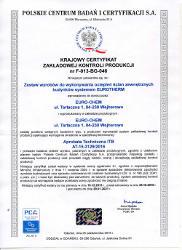 EURO-CHEM certyfikat EUROTHERM